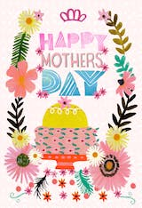 Happy cake & flowers - Mother's Day Card