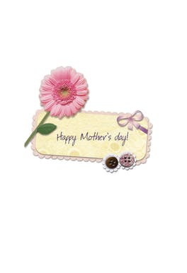 Flower & button - Mother's Day Card