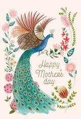 Peacock & flowers - Mother's Day Card