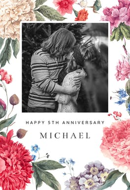 Garden Glory - Printable Anniversary Card