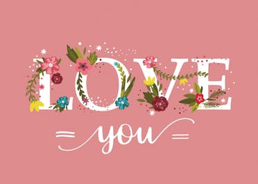 Botanical lettering - Valentine's Day Card
