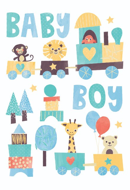 Lively image inside baby shower card printable