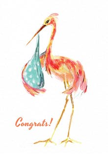 Watercolor stork - Baby Shower & New Baby Card