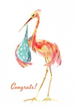 Watercolor stork - Card