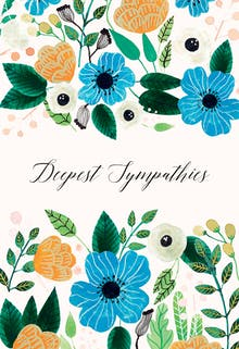 blue orange sympathy condolences card - Deepest Sympathy Card