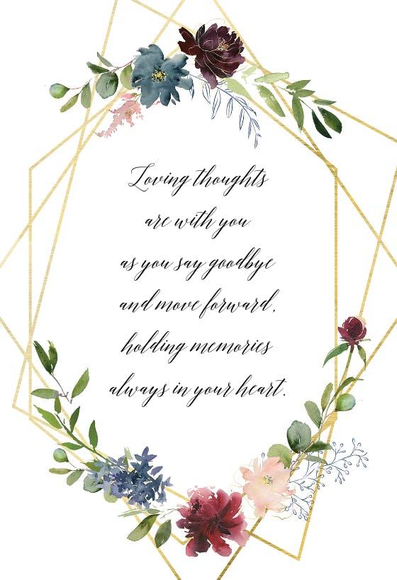 geometric  flowers  sympathy  condolences card free