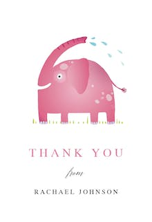 Elephant Splash - Baby Thank You Card