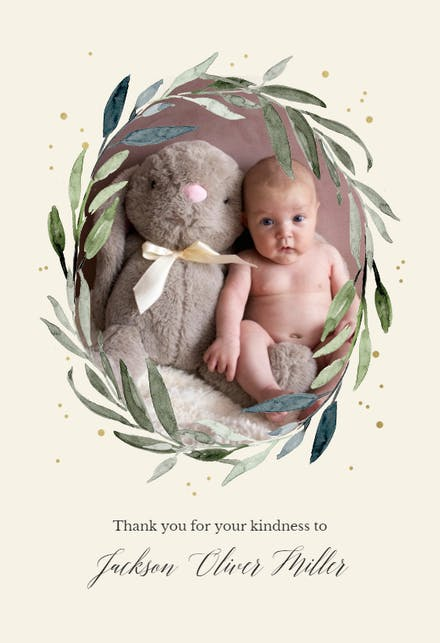 Olive Leaves Wreath Baby Thank You Card