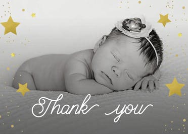 Shinny Thank You - Baby Thank You Card