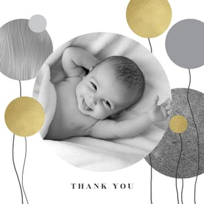 Surrealism balloons - Baby Thank You Card