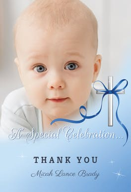 Baby Special Celebration -  Baptism Thank You Card