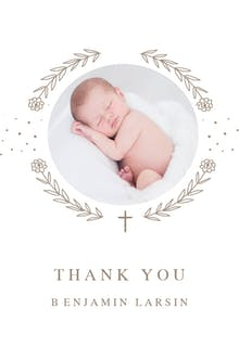 Ribbon Cameo -  Baptism Thank You Card