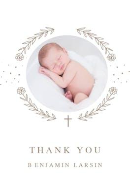 Ribbon Cameo -  Baptism Thank You Card