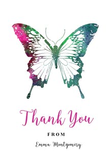 Butterflies - Birthday Thank You Card