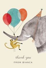 Elephant and Monkey - Birthday Thank You Card