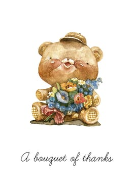 A Bouquet of Thanks - Thank You Card Template