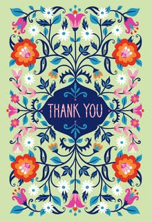 Batik Blooms - Thank You Card Template