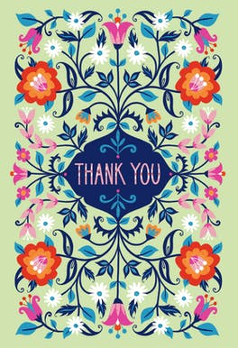 Batik Blooms - Thank You Card Template
