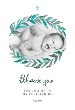 Bay Laurel -  Baptism Thank You Card