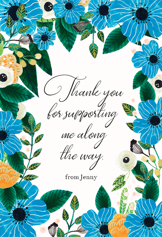 Blue Amp Orange Thank You Card Template Free Greetings