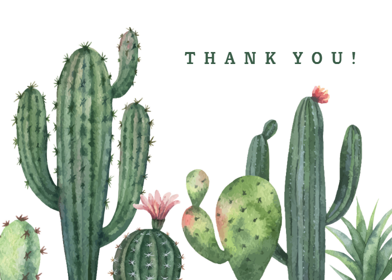 Cactus Thank You Card Template Free Greetings Island