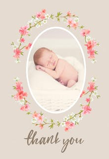 Floral Baby - Baby Thank You Card