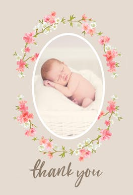 Floral Baby - Thank You Card Template