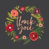 Floral Circle - Thank You Card Template