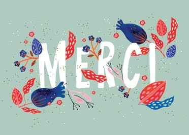 Floral Merci - Thank You Card Template