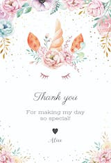 Floral unicorn - Thank You Card