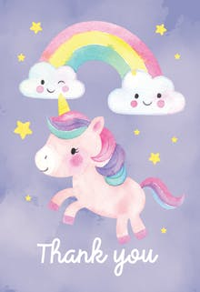 Friendly Unicorn - Birthday Thank You Card