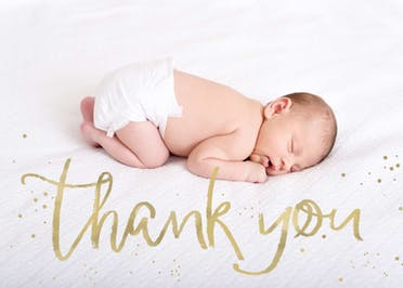 Golden Thanks -  Baptism Thank You Card