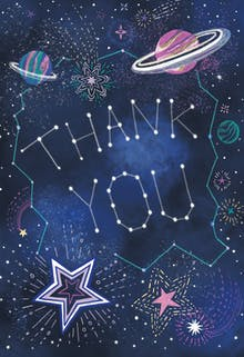 Outer space - Thank You Card Template