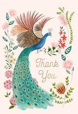 Peacock & flowers - Tarjeta De Agradecimiento