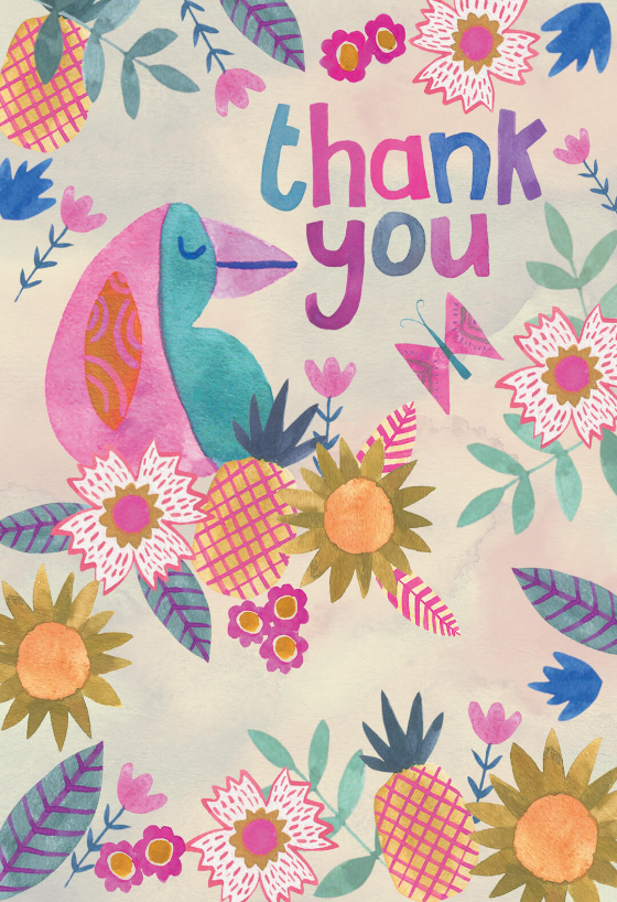 Pineapple Paradise - Thank You Card Template (Free ...