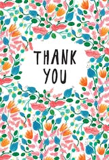 Pink Leaves - Thank You Card