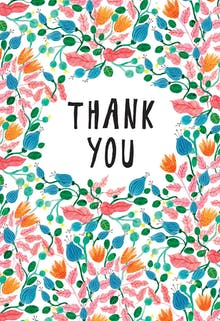 Pink Leaves - Thank You Card Template