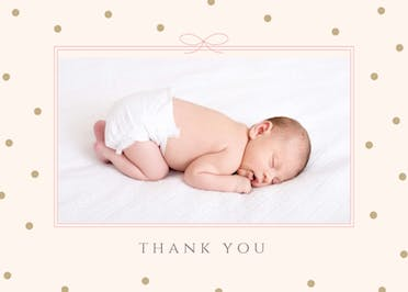 Ribbon and dots - Baby Thank You Card