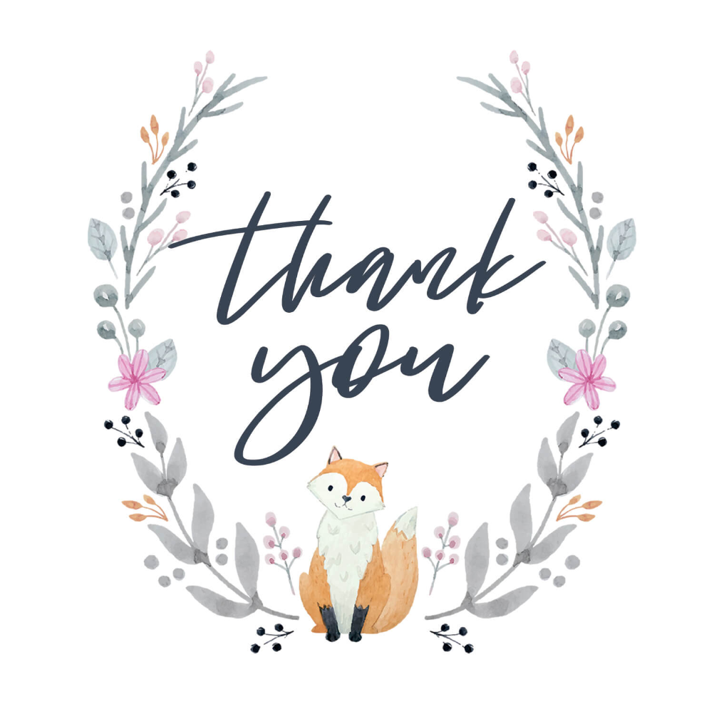 Soft Fox - Baby Shower Thank You Card (free)