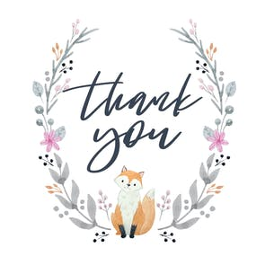Soft Fox - Baby Thank You Card