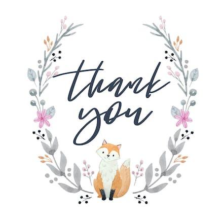 Soft Fox Thank You Card Template Free Greetings Island