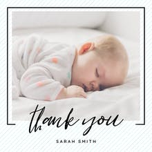Striped frame - Baby Thank You Card