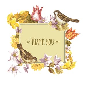 Thoughtful Thanks sparrows - Thank You Card Template