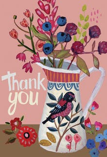 Vase and bird - Thank You Card Template