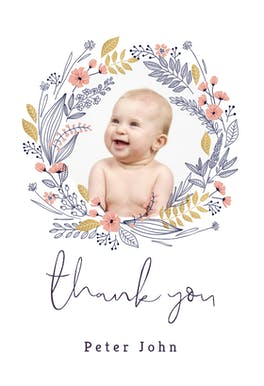 Wreath -  Baptism Thank You Card
