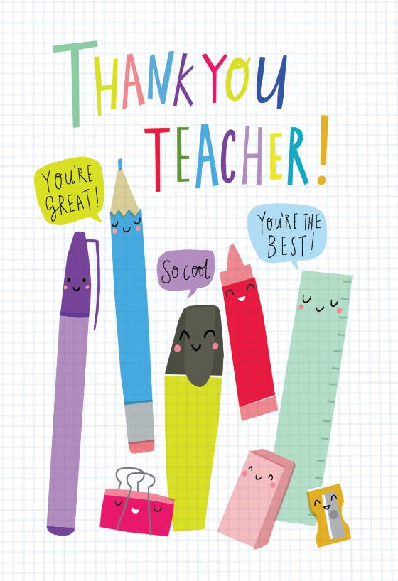 Teacher card printable: TEACHER THANK YOU bright crayon red thank you teacher cards printable instant download apple