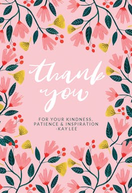 Pink Floral - Thank You Card For Teacher