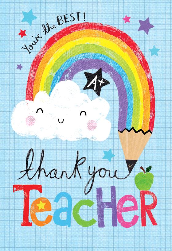 Rainbow pencil Thank You Card For Teacher Greetings Island