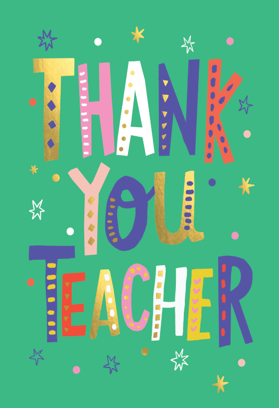 Thank you teacher lettering Thank You Card For Teacher