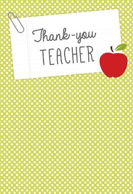 Thank You Teacher note - Thank You Card For Teacher